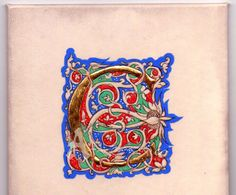 """Illuminated letter C """"a bianchi girali"""" egg tempera and gold leaf on parchment"""