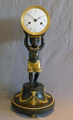 Pendule au nègre, époque Charles X Wall Clock Brands, Wall Clock Online, Antique Wall Clocks, Old Clocks, Wall Clock Luxury, Charles X, Victorian Chair, Classic Clocks, Retro Clock
