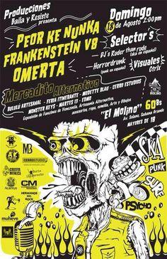 Cresta Metálica Producciones » Producciones Baila y Resiste presentan a: Omerta, Peor Ke Nunka y Frankenstein V8 en El Molino este 18 de Agosto!!!