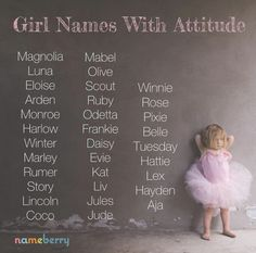 Girl Names with Attitude Names for girls with swagger and sass. (The names AND the girls.) The post Girl Names with Attitude appeared first on Baby Showers. Pretty Names, Cute Baby Names, Unusual Baby Names, Different Baby Names, Pretty Baby Girl Names, Vintage Baby Girl Names, Hipster Baby Names, Beautiful Girl Names, Vintage Names