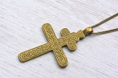 Ethiopian huge Coptic Cross Pendant Necklace christian religious Jewelry Gift by Shimbra on Etsy