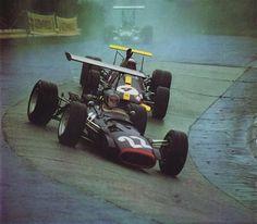 1968 German GP, Nurburgring : Sir Jack Brabham in Brabham BT26 chasing Piers Courage in BRM P126. (ph: f1-history.com)