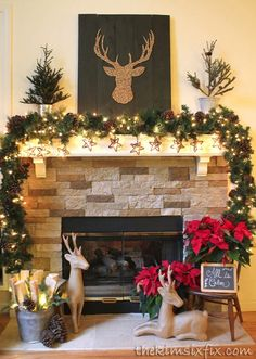 brown and red rustic reindeer mantel fire place christmas decorchristmas fireplace decorationsred
