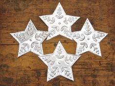 Rustic Metal Stars Embossed Mexican Tin Stars by FoilingStar