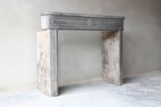 19th Century Antique Fireplace of Grey Marble Stone 2