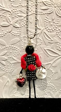 French doll pendant doll necklace Valentine necklace Be my Beaded Angels, Red Fur, Friendship Necklaces, Bijoux Diy, Be My Valentine, Bead Art, Jewelry Crafts, Jewelry Art, Beading Patterns