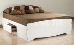 6 Drawer Platform Storage Bed in White by Prepac Furniture