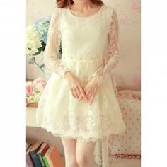 $17.81 Vintage Scoop Neck Floral Pattern Long Sleeve Beaded Women's Lace Dress