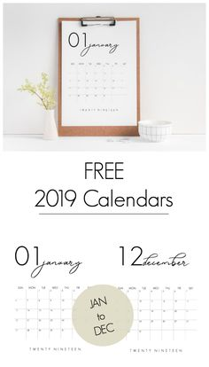 Grab your FREE 2019 Calendar Printable. LOVE the design of these beautiful, modern calendars! Grab yours and stay organized this year! Calendar 2019 Printable, Printable Calendar Template, 2019 Calendar, Printable Planner, Free Printables, Yearly Calendar, Freebies, Calendar Design, Staying Organized