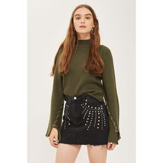 Topshop Moto Studded Denim Mini Skirt (23,070 KRW) ❤ liked on Polyvore featuring skirts, mini skirts, washed black, denim skirt, topshop skirts, denim miniskirts, topshop mini skirt and short denim skirt