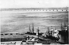 Victoria Bridge and St. Lambert, Montreal Harbor, Quebec by William Notman