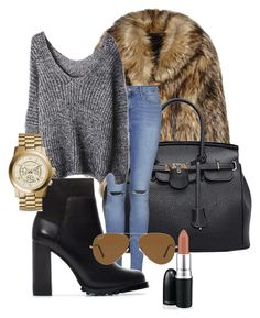 """""""Cold day"""" by raquelreitx ❤ liked on Polyvore featuring Unreal Fur, Topshop, Zara, Ray-Ban and Michael Kors"""