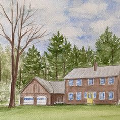 Watercolor house portraits. Holiday gift ideas. Watercolor Artwork, Watercolor Portraits, House Paintings, Housewarming Present, Realtor Gifts, Cool Lighting, Custom Paint, That Way, Custom Homes