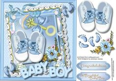 A Bouncing Baby Boy  on Craftsuprint designed by Ceredwyn Macrae - A lovely card to make and give to any one on the arrival of a baby boy a lovely card with Booties , Rattle , Flowers, and Love , has two greeting tags for you to choose the sentiment . - Now available for download!