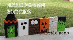 DIY Halloween Decor using Burlap and Wood Blocks