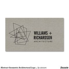 Abstract Geometric Architectural Logo Linen/Black Double-Sided Standard Business Cards (Pack Of 100)