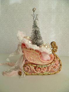 French Chic Vintage Pink Sleigh Ornament w/ by ProvencalMarket