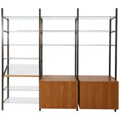 Rare Mid-Century Modern Bronze and Glass Wall Unit by Milo Baughman