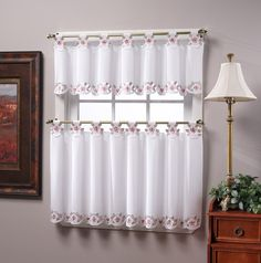 Amazon.com: Today's Curtain Capri Reverse Embroidery 14-Inch Tab Top Curtain Valance, White/Rose: Home & Kitchen
