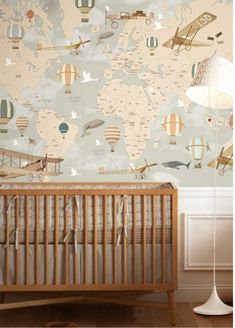 25 Cute Baby Nursery Ideas That Are Sweet yet Elegant - Babyzimmer Baby Bedroom, Baby Boy Rooms, Baby Boy Nurseries, Nursery Room, Kids Bedroom, Child's Room, Map Nursery, Girl Nursery, Boys Nursery Wallpaper