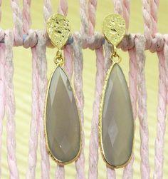 Zj6752 Offer Sale! Gray Chalcedony Gold Plated Handmade 1.9Inch Earring Jewelry #Handmade #DropDangle