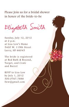Bridal Shower Invitation - bride with flowers - pink, brown, black, red