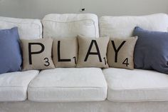 PLAY Letter Pillows  Inserts Included by dirtsastudio on Etsy, $98.00