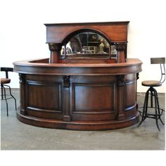 Horseshoe Front And Back Pub Bar Furniture With Wine Rack Mirror Antique Replica Brunswick
