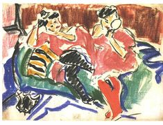 Expressionism — Two Women at a Couch, Ernst Ludwig Kirchner