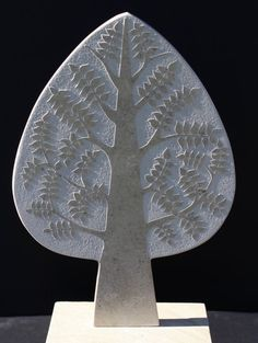 #Marble #sculpture by #sculptor Michael Disley titled: 'marble Spring Tree (Wall Relief Carved Unique sculpture)'. #MichaelDisley