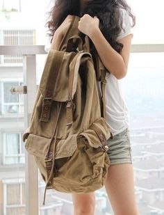Classic Canvas Rucksack Backpack good for travel, hiking school college.