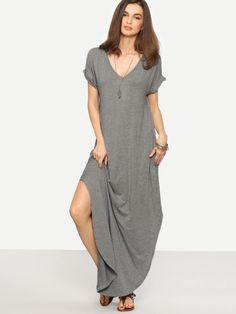 93f454e88ea Heather Knit Rolled-cuff Pockets Side Split Dress -SheIn(Sheinside) Side  Split