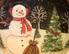 Winter Original Folk Art Hand Painted Vintage by Ravensbend, $18.00