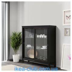 ИКЕА, IKEA, ХЕМНЭС, 203.632.07, Шкаф-витрина, черно-коричневый, 120x130 см