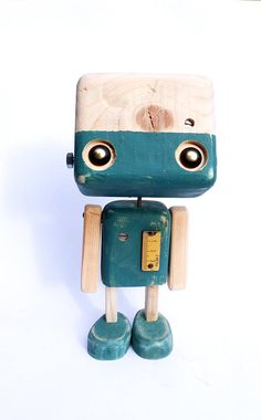 Reclaimed wood gray blue robot