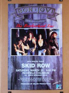 Bon Jovi RARE 1989 New Jersey The Brotherhood Tour Concert Poster w Skid Row | eBay