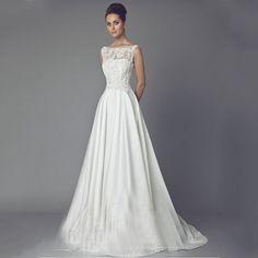 Vintage Braut Kleid A Line Ivory Satin Brautkleider Lange Spitze Applique Kapelle Zug