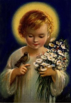 """Baby Jesus hold me as you hold this dove."" / Prayers to Jesus Catholic Prayers, Catholic Art, Catholic Saints, Religious Art, Vintage Holy Cards, Jesus Christus, Jesus Face, Religious Pictures, Mary And Jesus"