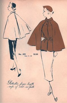 Another charming cape design from the via Tuppence Ha'Penny Vintage Vintage Dress Patterns, Vintage Dresses, Vintage Outfits, Classy Outfits, Vintage Clothing, 1950s Fashion, Vintage Fashion, Steampunk Fashion, Gothic Fashion