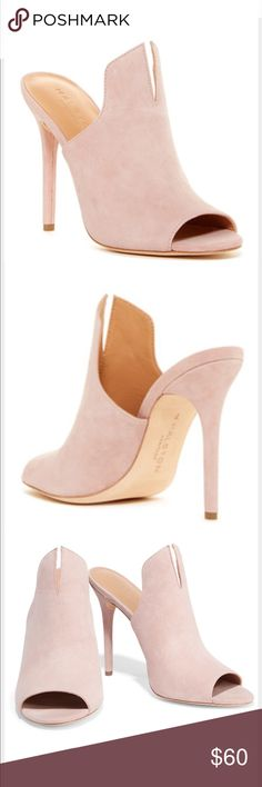 Halston Notched Suede Carmen Blush Mule Heels 7 Halston Notched Suede Carmen Blush Creme Mules! These shoes are used! Worn a few time!! Bottoms show marks  as shown in photo!! Otherwise in great condition!! I purchased these shoes New at Nordstrom for $150!! Size: 7 Halston Heritage Shoes Heels