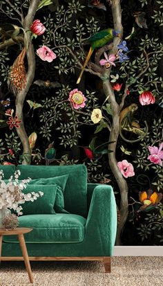 """Who knew that a quick installation of wallpaper could turn your lounge from """"ok"""" to """"OH MY..."""" 😍 We adore how tropical and gorgeous this Dark Monkey Treetops looks in this dark green lounge! Available in a range of wallpaper materials and custom-made to fit your wall, it won't be long till you're welcoming family and friends into your exotic lounge... #tropicalwallpaper #darkwallpaper #uniquelivingrooms Room Wallpaper, Dark Wallpaper, Green Lounge, Tropical Wallpaper, What's Your Style, Wingback Chair, Designer Wallpaper, Monkey, Accent Chairs"""