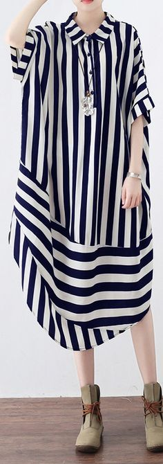 black striped chiffon blended maxi dress trendy plus size shirt collar dresses Elegant patchwork caftans