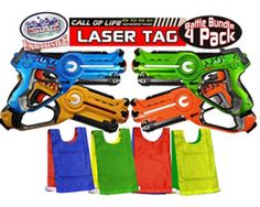 "Buy Matty's Toy Stop ""Call of Life"" Infrared (IR) Tag Blasters for Kids Red, Green, Blue & Yellow Deluxe Gift Set Battle Bundle with 4 Reversible Team Vests - 4 Pack Nerf Party, Spy Party, Green And Orange, Blue Yellow, Red And Blue, Blue Vests, Thing 1, Family Games, Outdoor Activities"