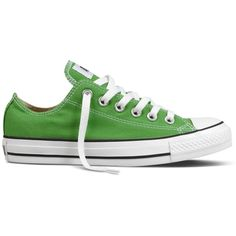 CTAS Classic Green OX found on Polyvore featuring polyvore, fashion, shoes, sneakers, converse, zapatos, zapatillas, women's footwear, converse trainers and converse shoes