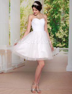 Bridesire - Duchesse-Linie Herz-Ausschnitt trägerloser Ausschnitt Taft Tülle Knielang Brautkleid [310535] - €83.56 : Bridesire