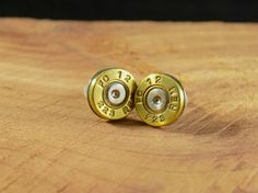 223 Brass Bullet Stud Earrings  E008 by DebsArtisanJewelry on Etsy