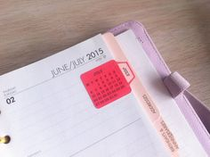 12 Calendar Adhesive Tabs perfect for easy access to check the dates for your notebook or planner or even for a travel journal. Having the back side adhesive makes it more durable and it does´t fall easily. Size: square calendar 1.1 x 1.1 inch. plus tab
