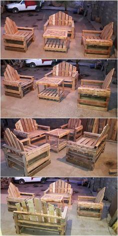 This is one of the amazing idea of using the recycle form of the wood pallet material in the furniture as for outdoor garden areas. This idea is all comprised with the alternatives that is settled with the portions of benches all along with the center table piece work.