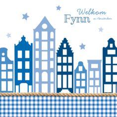 Typisch hollands geboortekaartje met hippe blauwe ruitjes, hollandse gevelhuisjes en scheepstouw. Linksboven de naam in Welkom in 'plaatsnaam'.