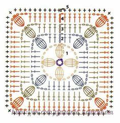46 Patrones, Punto Puff en crochet (Puff Stitcho Crochet) Crochet Motif Patterns, Granny Square Crochet Pattern, Crochet Diagram, Crochet Granny, Crochet Wool, Crochet Quilt, Crochet Art, Free Crochet, Crochet Squares